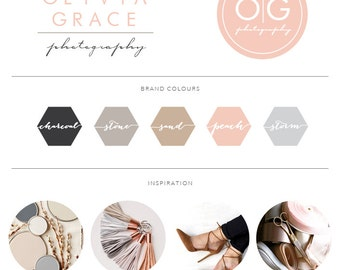 Blush Circle Script Photography Logo, Boutique Calligraphy Branding Board, Premade Branding Logo Kit, Custom Logo Design, 013