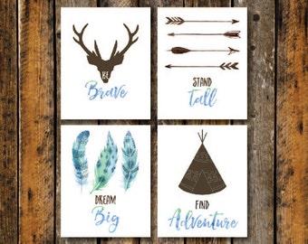 Nursery Wall Art, Tribal Nursery Decor, Set of 4, Find Adventure, Brown Blue Watercolor, Tipi, Arrows, Baby Shower,Watercolor Feather, Boho