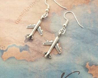 Aeroplane Earrings, Airplane Earrings, Plane Jewellery, Little Earrings, Travel Jewelry, Aircraft Earrings, Traveller Gift, Holiday Jewelry