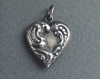 Paisley Art  Nouveau style silver heart
