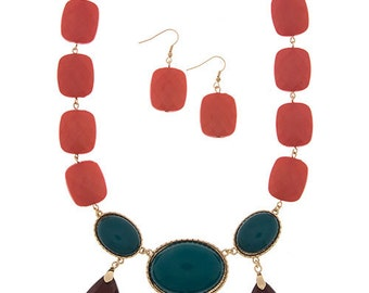 Oval Jewel Statement Necklace