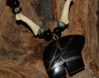 Necklace Turquoise Bone Jasper Bear  & Sterling By Cherokee Artist T Spirit Pony