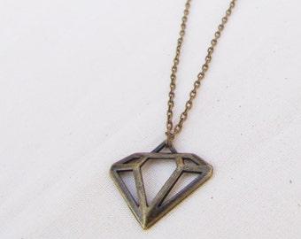 Charm necklace with bronze diamond