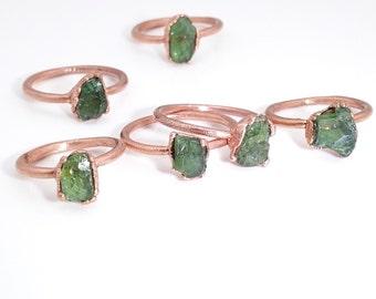 Raw stone ring, green apatite ring, mineral ring, raw crystal ring, bohemian ring, electroformed ring, natural stone ring, green apatite
