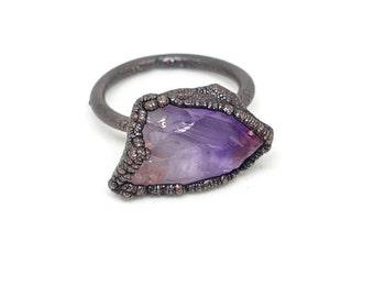 Raw amethyst ring, raw ring, raw crystal ring, raw stone engagement ring, raw stone ring, February birthstone ring, natural stone ring