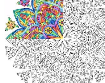 mandala coloring page goddess brooch printable coloring for adults - Art Therapy Coloring Pages Mandala