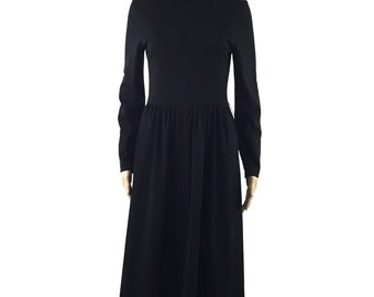 Vintage Black Long Sleeve Knee Length A-line Dress, Size 4