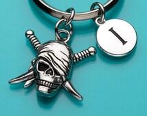 Skull Keychain, Skull Key Ring, Skull with Swords, Initial Keychain, Personalized Keychain, Charm Keychain, 641