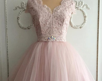 Rose pink lace dress with tulle