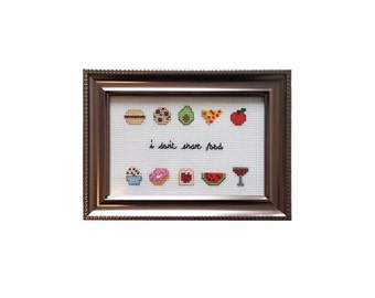 I Don't Share Food framed cross stitch