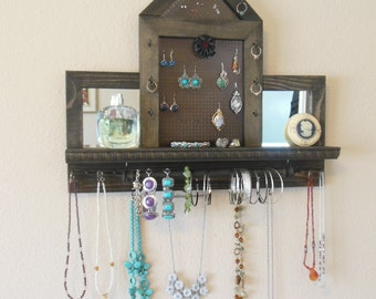 Stud Earring Holder, jewelry organizer, bracelet storage, jewelry wall organizer