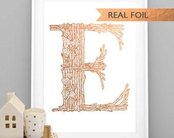 "Rose Gold Woodland Monogram ""E"" A4 Art Print, Wall Art, Poster, Copper print, Woodland nursery print"