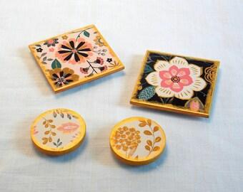 Magnet Set - Kitchen Magnets - Fridge Magnets - Home Office Magnets - Wood Magnets - Office Magnets - Refrigerator Magnets - Message Magnets