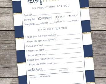 Baby Predictions & Wishes - Baby Shower - Custom Printable - Digital