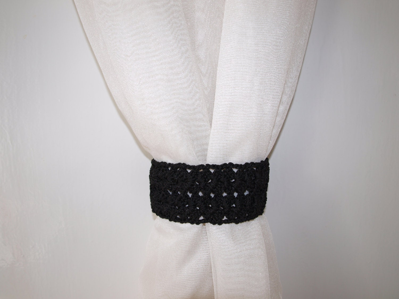 black tiebacks lace curtain tie backs crochet tieback with