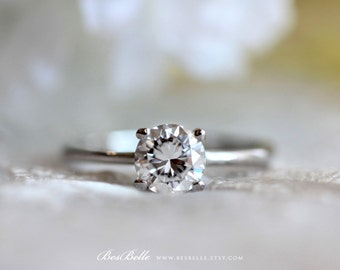 1.0 ct Solitaire Engagement Ring-Brilliant Cut Diamond Simulant-Bridal Ring-Wedding Ring-Promise Ring-Solid Sterling Silver [3313]