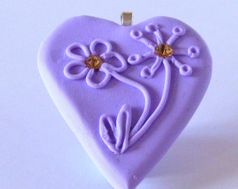 Polymer Clay Heart Shaped Necklace on Silver Plated Snake Chain