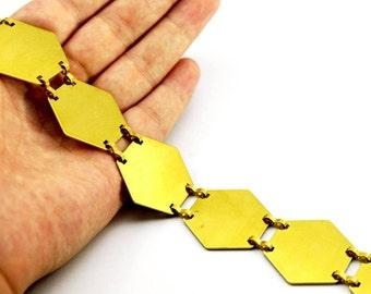 1 meter ( 3,33 Feet ) Raw Brass 30x30 mm Hexagonal Chain