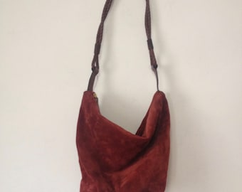 Vintage Brick Red Suede Shoulder Bag Purse Slouchy Zip Top Desmo Italy