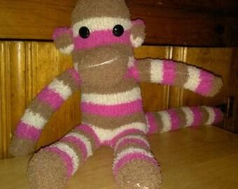 Brown/White/Pink Striped Sock Monkey