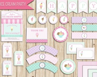 "Ice Cream Printable Party Pack (digital download): ""ICE CREAM"" with pink, purple, mint, ice cream party printables"