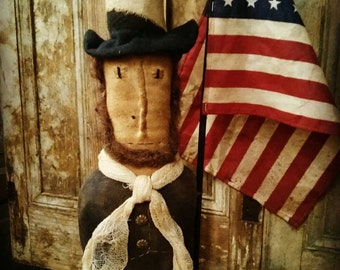 Primitive Lincoln doll Folk art Abe Lincoln Make do fAap Haha Hafair