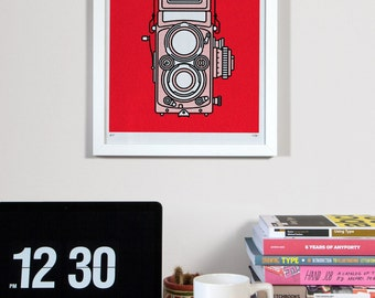 Minimal Camera Print - Rolleiflex Illustration - Red Vintage Risograph - Medium Format - A3 Retro Photography Poster - Gift For Photographer