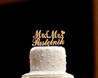 Custom Wedding Cake Topper Personalized Wedding Cake Topper Rustic Wedding Topper Wood Wedding Cake Topper  Mr and Mrs Cake Topper Wedding