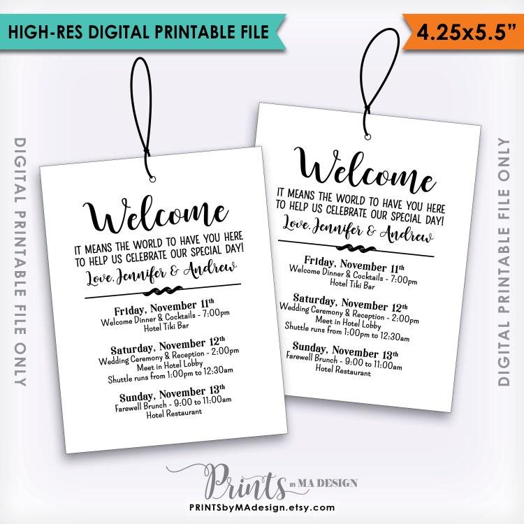 Wedding Gift Bag Itinerary : Wedding Welcome Bag Tags Wedding Itinerary by PRINTSbyMAdesign