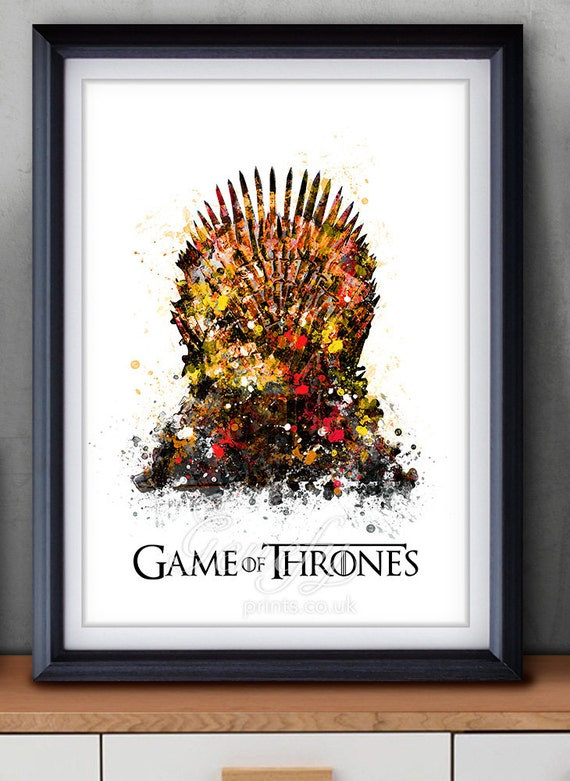 Game of thrones iron throne watercolor art poster print game for Iron throne painting