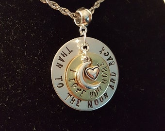 Hand stamped 'I love you more than to the moon and back' necklace