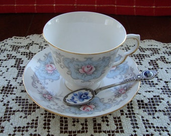 Queen Anne - Bone China England - Vintage Tea Cup and Saucer - Pale Blue and Grey Motif with Pink Roses