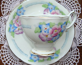 Royal Albert Crown China - England - Vintage Tea Cup and Saucer - Pink and Blue Flowers with Blue Ribbons and Gold Trim