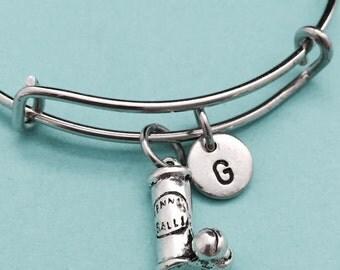 Tennis ball can bangle, tennis ball can charm bracelet, expandable bangle, charm bangle, personalized bracelet, initial bracelet, monogram