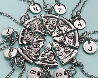 Best friend necklace, pizza necklace, food necklace, bff necklace, sister, friendship jewelry, personalized necklace, initial, monogram