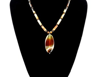 Sunset Agate Necklace, Ombre Sunset Agate Necklace, Agate and Sardonyx Necklace, Agate Necklace, Sunset Colours, Sunset Gradient, OOAK