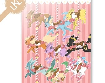 Pokemon Eevee Evolutions Greetings Card - cute, kawaii