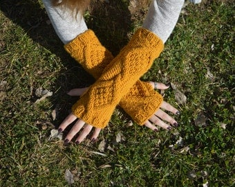 Knitted Fingerless Mittens/Hand Knit Arm Warmers/Finglerless Gloves in Mustard Yellow