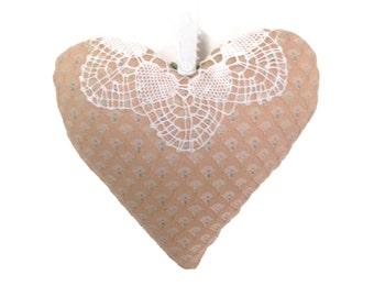 """Handmade heart pillow, Vintage fabric hanging heart, doorknob hanger LaceAtMidnight, 8"""" x 7"""", Blush/Peach heart pillow, bedpost accent home"""