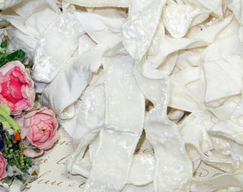 """5/8""""~ Shabby CRUSHED WHITE VELVET Vintage Panne Wedding Ribbon Rayon Beige Off White for Choker Necklace Doll Dress Millinery Hat Trim Work"""