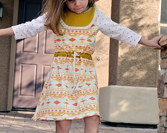 Saige's Boatneck Knit Dress. PDF sewing pattern for toddler girl sizes 2t - 12.