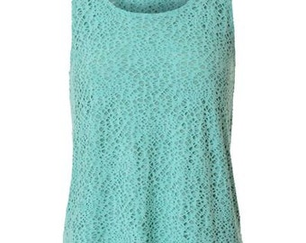 GREEN Tank Top,Open back, Summer Tank Top,Embroidered cloth vest with holes - - Mari SIZE : S,M,L
