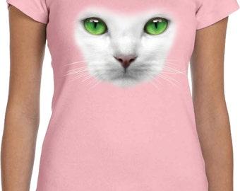 Ladies Funny Shirt Green Cat Eyes Scoop Neck Tee T-Shirt 17600HL4-1003