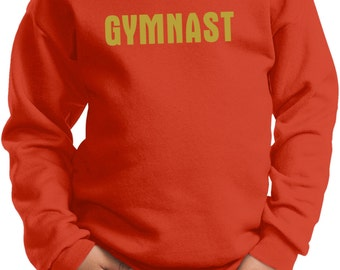 Kid's Gymnastics Sweatshirt Gold Glitter Gymnast Sweat Shirt GOLDGYM-PC90Y