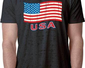 Distressed USA Flag Mens Burnout Tee T-Shirt XIT-11515-NL6110