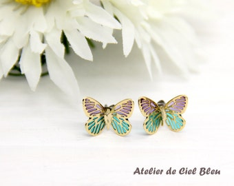 Butterfly Earrings, Butterfly Stud Earrings, Gold Butterfly Earrings, Purple Butterfly Earrings, Blue Butterfly Earrings, Butterfly Jewelry
