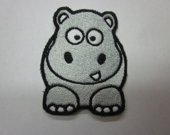 Cute Hippo Iron or Sew On Patch