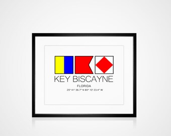 """KEY BISCAYNE, FLORIDA Download Art For You To Print Image Sized To 8"""" x 10""""  Beach Ocean Tropical Decor Home Instant Gift"""