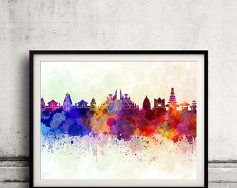 Bali skyline in watercolor background - Poster Digital Wall art Illustration Print Art Decorative - SKU 1988
