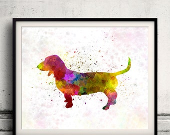 Artesian Norman Basset 01 in watercolor - Fine Art Print Poster Decor Home Watercolor Illustration Dog - SKU 1436